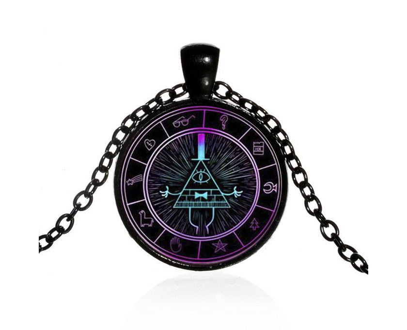 Gravity Falls Grotesque Town Bill Cipher Time Gemstone Necklace - 1/5