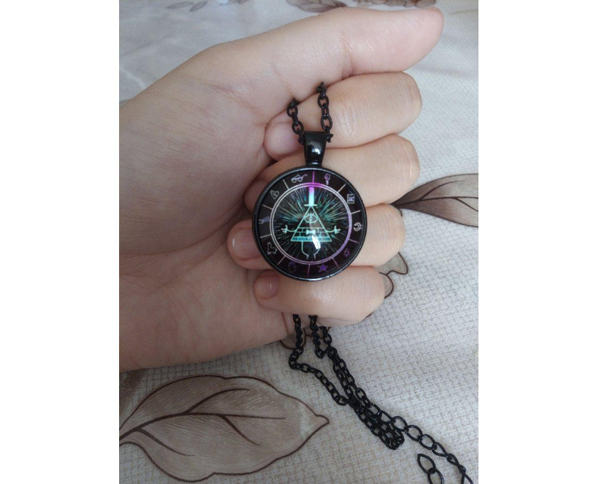 Gravity Falls Grotesque Town Bill Cipher Time Gemstone Necklace - 5/5